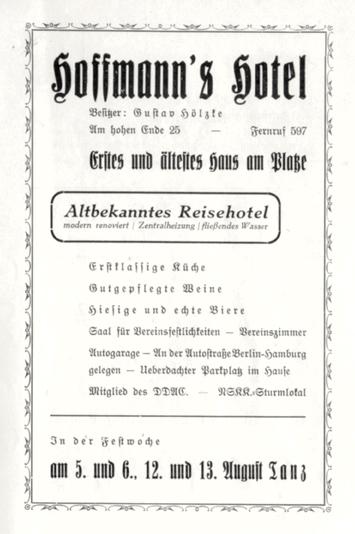 Anzeige aus dem Festprogramm zur 700-Jahr-Feier Perleberg, 1939