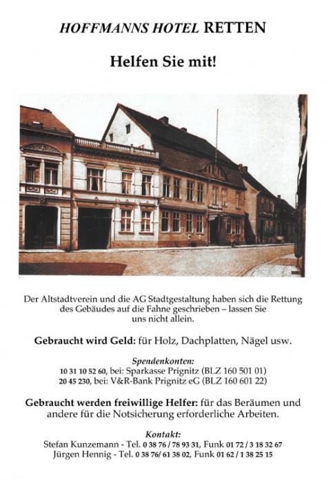 Hoffmanns Hotel, Spendenaufruf 2012
